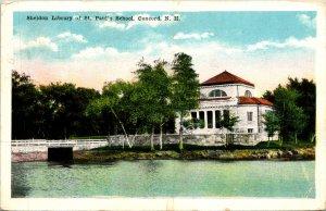 Concord NH Sheldon Library St Paul School Postcard used (30908)