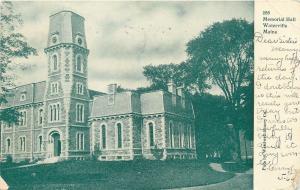 Waterville ME~Steep Mansard Roofs~Round Window Dormers Memorial Hall~c1905 PC
