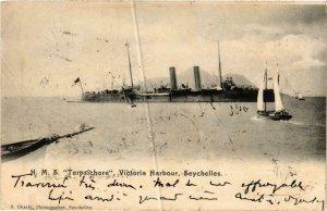 CPA AK H.M.S. TERPSICHORE Victoria Harbour, Seychelles SHIPS (703667)