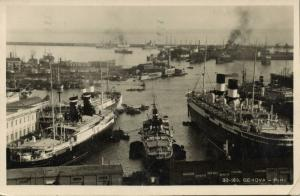 italy, GENOVA GENOA, Porto Harbour, Steamers (1920s) RPPC