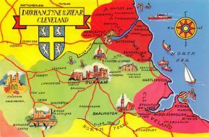 Map Postcard, Durham, Tyne & Wear, Cleveland 27S