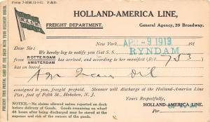 New York City~SS Ryndam~April 9, 1913 Freight Delivery of Oil Notice~Postal