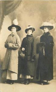 C-1910 Lewiston Maine Ladies big Hats Purses Photo Studio RPPC postcard 957