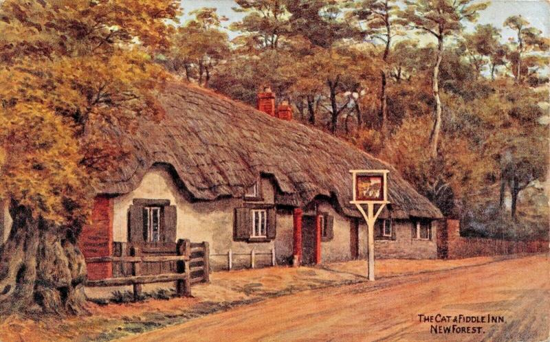 NEW FOREST HAMPSHIRE ENGLAND~THE CAT & FIDDLE INN-A R QUINTON ARTIST POSTCARD