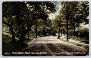 Minneapolis Minnesota~Kenwood Parkway~Vintage Car Drives Away~1908 Postcard