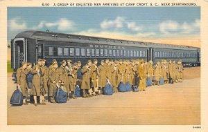 Military Camps Post Card Enlisted Men arriving at Camp Croft Spartanburg, Sou...