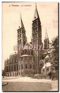 Old Postcard Tournai The Cathedral