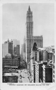 New York, Broadway Downtown and Woolworth Building, Rotary, Real Photo 1926