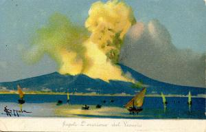 Italy -  Naples. Mt Vesuvio Eruption.  Artist: Coppola