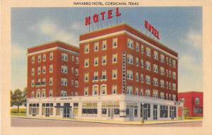 Corsicana Texas Navarro Hotel Linen Antique Postcard J51397