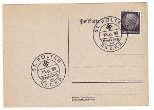 P1266 1939 WWII germany nazi swastika history postcard special cancel st polten