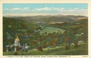 Montpelier, Vermont State Capitol and Winooski Valley Looking West Postcard