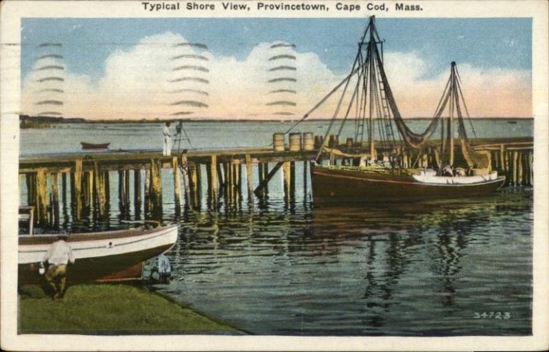 Provincetown Cape Cod MA Typical Shore View c1920 Postcard