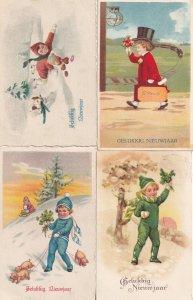Dutch Child With Railway Train Pig On Lead 4x Old Happy New Year Postcard s