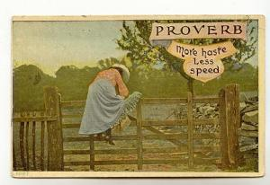 Proverb Series, Woman Climbing Fence, More Haste Less Speed, Used 1908