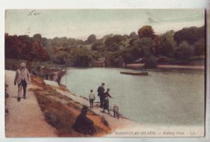 P1079 old used stamp card fishing great britain hamstead heath bathing pond