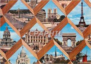 Modern Postcard Paris Eiffel Tower Moulin Rouge Notre Dame Arc de Triomphe