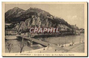 Postcard Grenoble Old Quays of & # 39Isere Fort Rabot and the Bastille