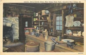 Lincolns New Salem Illinois~State Park~Berry Lincoln Store~1940s Postcard