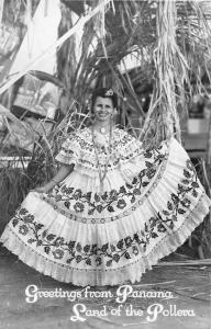Greetings from Panama Woman in Dress Real Photo Antique Postcard J56866