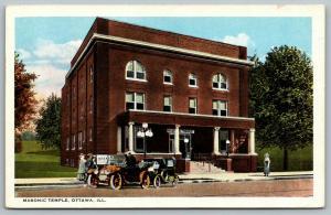 Ottawa Illinois~Masonic Temple~AF & AS~Ladies at Vintage Cars~1920s Postcard