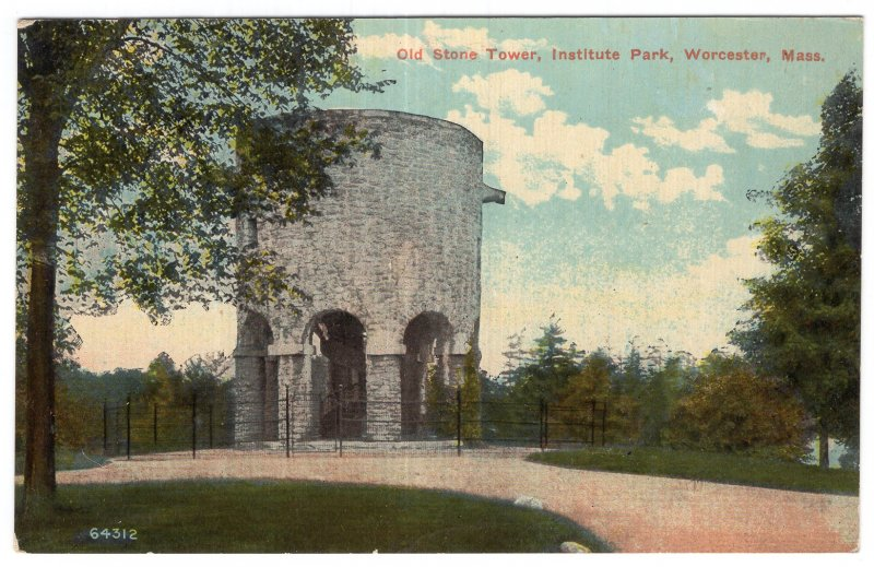 Worcester, Mass, Old Stone Tower, Institute Park