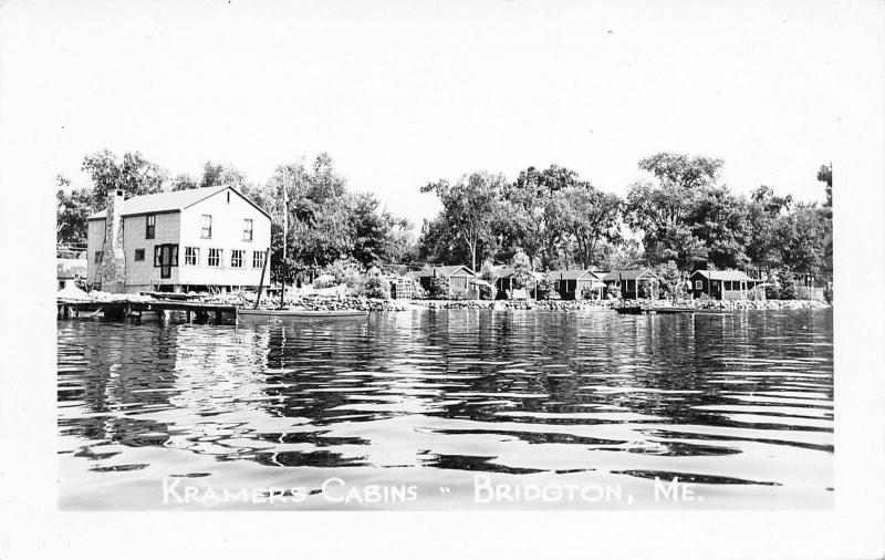 Bridgton Maine~Kramer's Cabins~Lodge~Lakefront~Highland? Lake~1940s RPPC