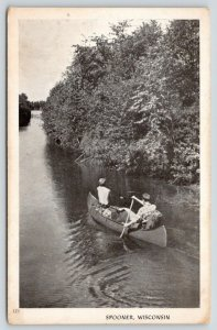 Spooner Wisconsin~Couple of Dudes Canoeing Down the Yellow River~B&W 1940s