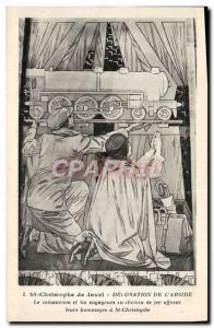 Postcard Old Train St Christophe de Javel Decoration of & # 39abside The mech...