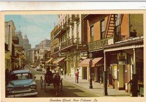P1783 vintage old cars horse & wagon bourbon st. new orleans la