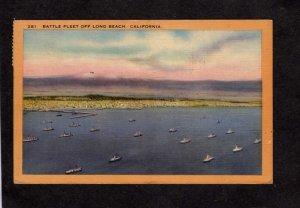 CA Battle Fleet Navy Naval Ships Military Long Beach California Linen Postcard