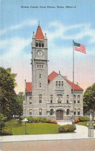Xenia Ohio 1940s Linen Postcard Greene County Court House