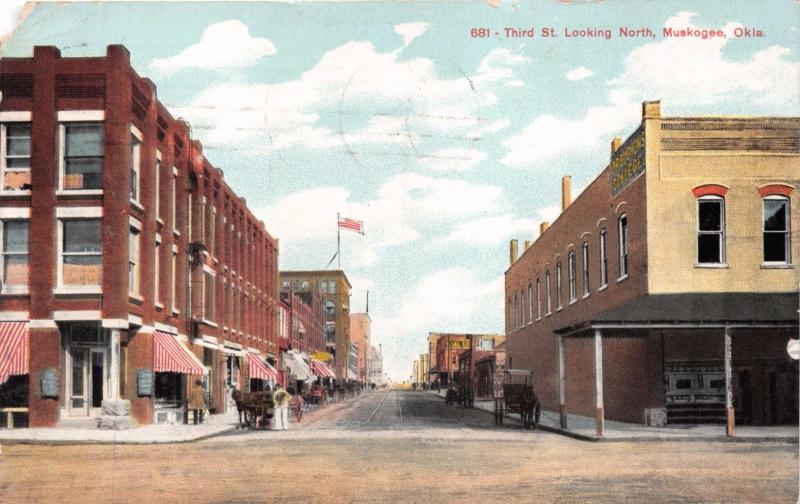MUSKOGEE OK THIRD ST LOOKING NORTH~WHOLESALE GROCER PUBL POSTCARD 1913 *DAMAGED*