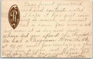 1915 Personalized / Monogrammed Postcard R w/ Message & 1915 EDMOND OK Cancel