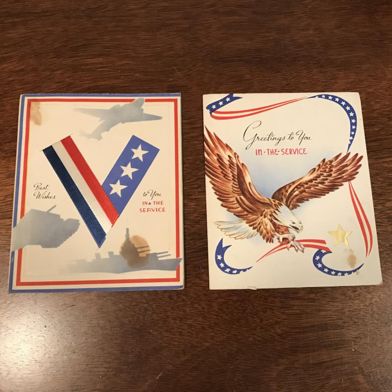 2 Vintage WWII Greeting Cards - To You In The Service - V Ribbon - Eagle