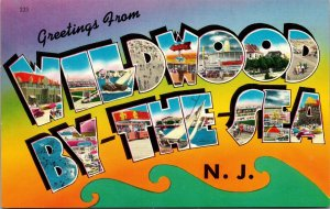 Postcard NJ Large Letters Greetings from Wildwood By-the-Sea Vintage Unposted