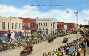 Linen 1940s USA Postcard Rocky Ford Colorado Military Jeeps Fair Day Parade 54Y