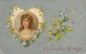 Valentine~Pretty Lady in Blue Forget-Me-Nots Heart~Silver Back Embossed~Winsch