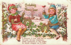 Happy New Year Kids Cheering and Lucky Horseshoe 04.44
