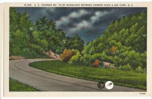 US Highway North 74 By Moonlight Between Chimney Rock and Bat Cave Postcard
