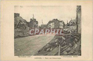 Old Postcard Amiens Street Beauvais Army