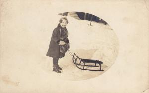 RP, Happy Little Girl With A Sled, 1900-10s