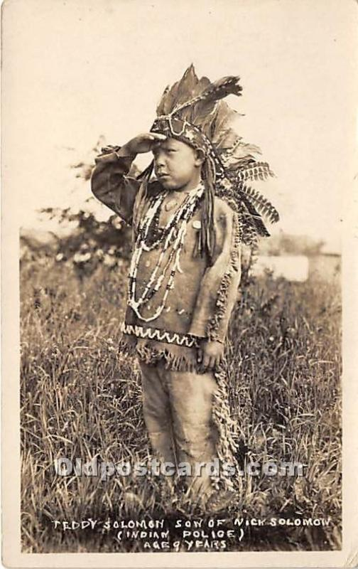 Indian Postcard Teddy Solomon Son of Nick Solomon, Indian Police age 9