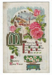 Vintage New Year Greetings Postcard, A Winter Scene, Pink Roses, Verse, 1915