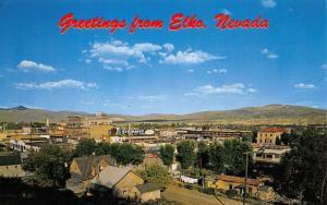 Elko Nevada~Birdseye Panorama~Stockmens~Homes~Downtown~1960s Postcard
