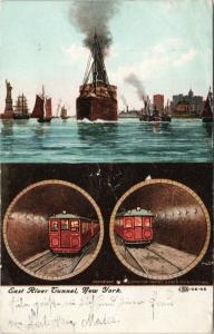 East River Tunnel New York NY c1908 Postcard E49 *As Is