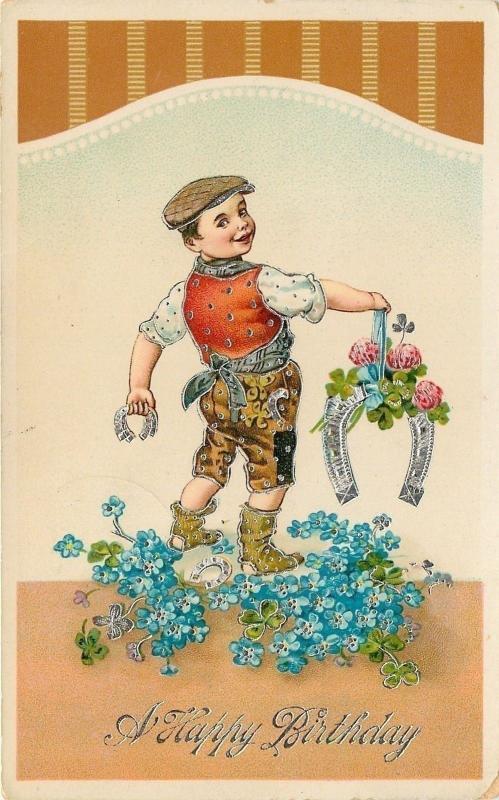 Victorian Blacksmith Boy~Horseshoes~Pink Clover~Silver Filigree~GEL JB&Co~German