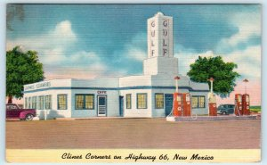 CLINES CORNERS, NM New Mexico  ROUTE 66 CAFE & GAS STATION 1949 Linen Postcard