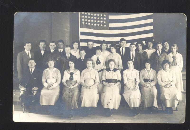 RPPC PATRIOTIC MEN & WOMEN LARGE AMERICAN US FLAG REAL PHOTO POSTCARD