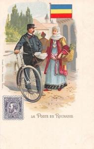 La Poste en Roumanie, Romania, Romanian Bicycle Bike Postmen Chromo Postcard